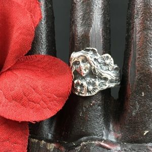 Vintage Jewelry - Vintage Sterling Silver Art Nouveau Woman Ring